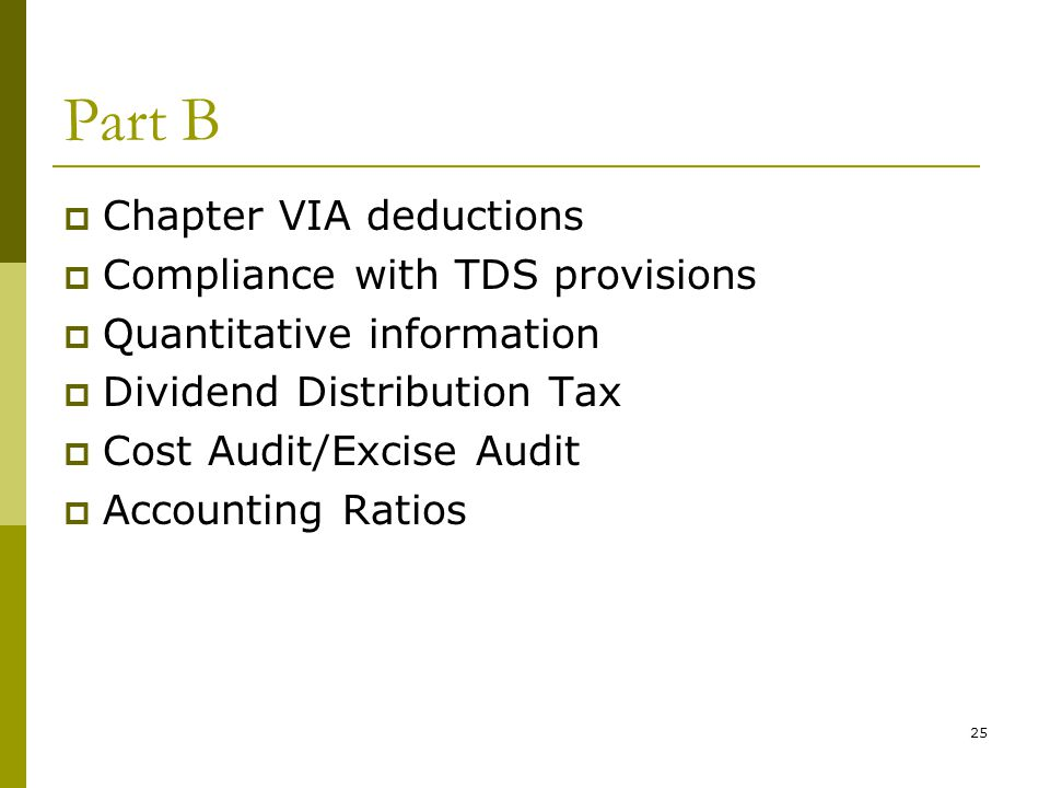 Part B Chapter VIA deductions Compliance with TDS provisions