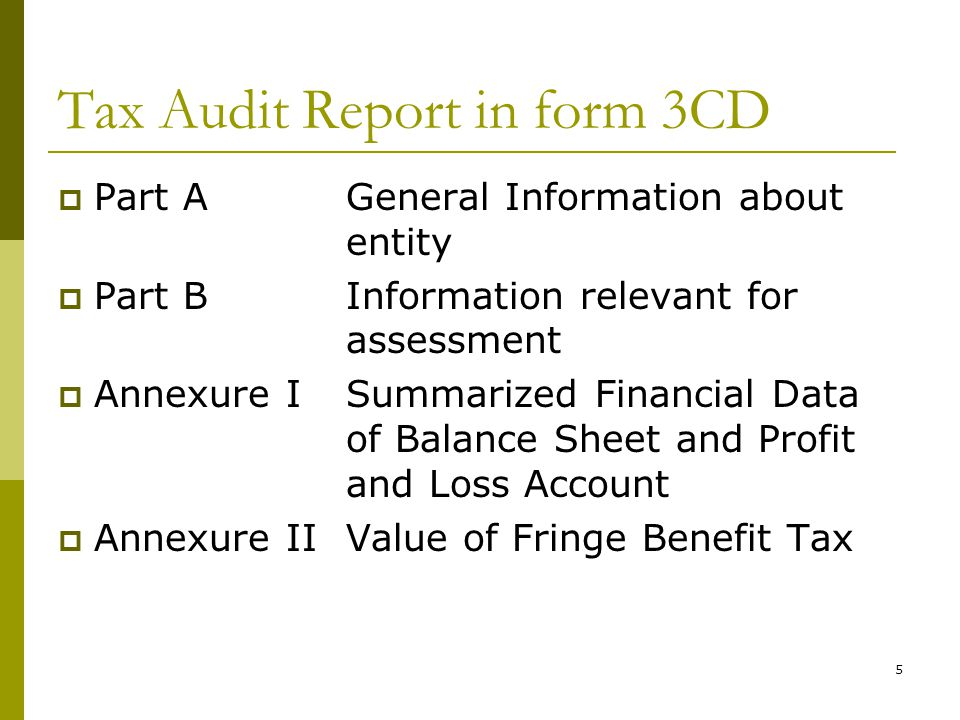Tax Audit Report in form 3CD