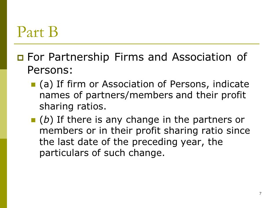 Part B For Partnership Firms and Association of Persons: