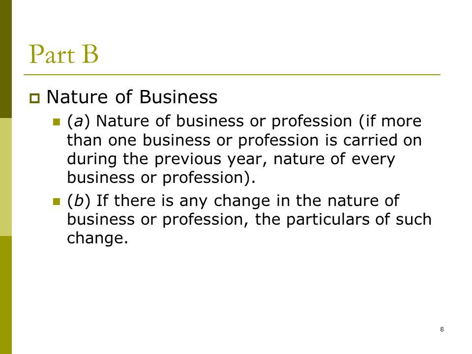 Part B Nature of Business