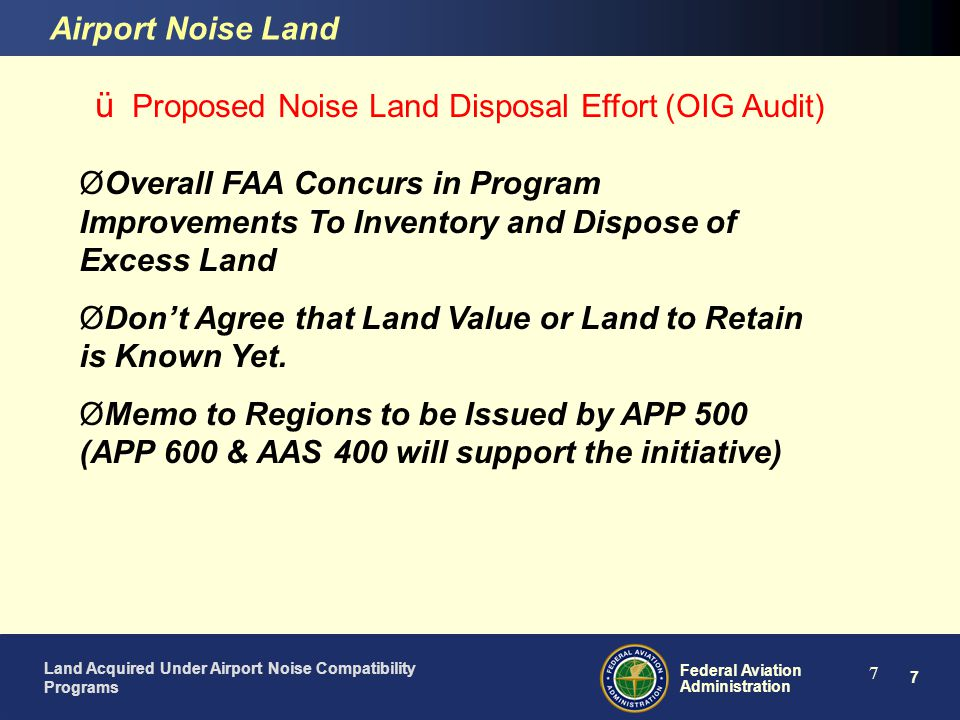 Proposed Noise Land Disposal Effort (OIG Audit)