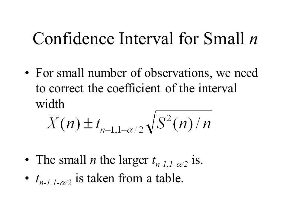 Confidence Interval for Small n