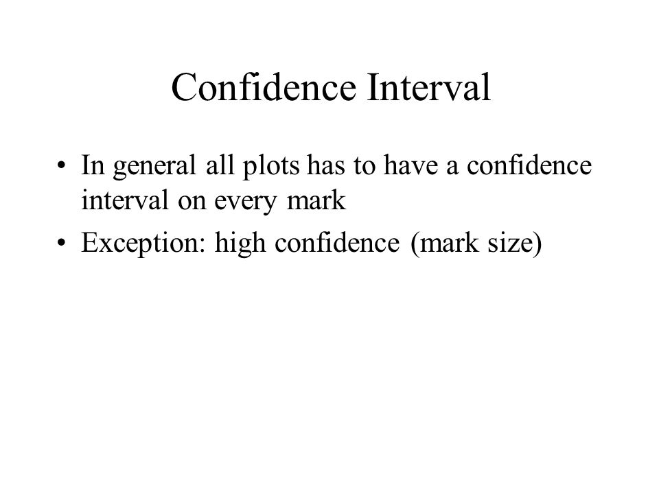 Confidence Interval In general all plots has to have a confidence interval on every mark.