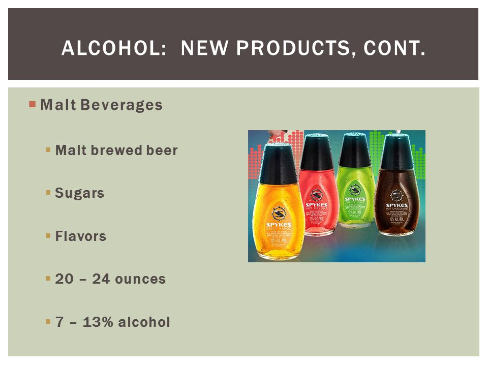 Alcohol: new products, cont.