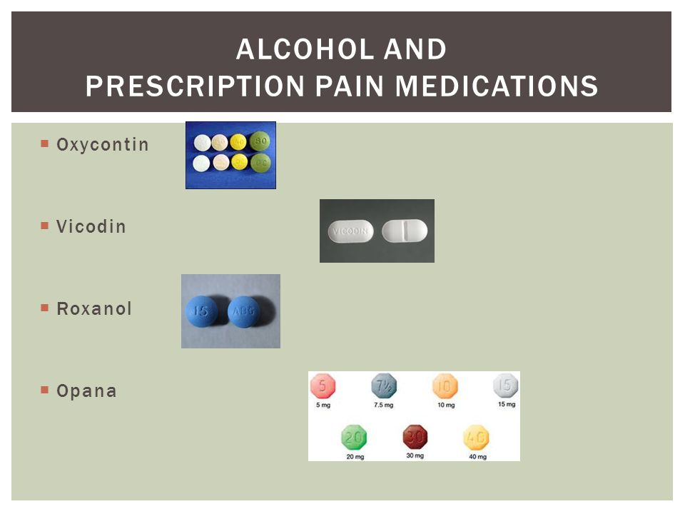 Alcohol and prescription pain medications