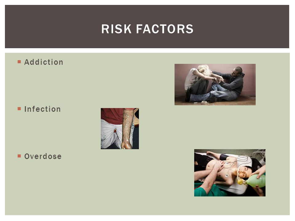 RISK FACTORS Addiction Infection Overdose