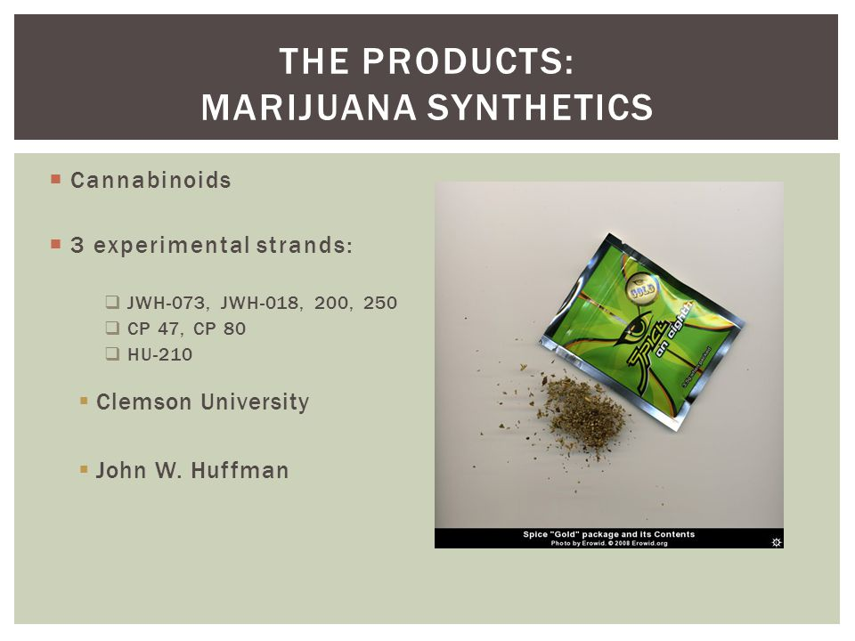 The Products: Marijuana Synthetics