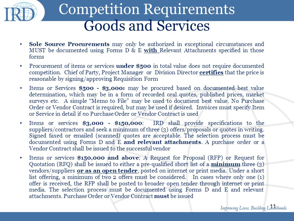 Competition Requirements Goods and Services