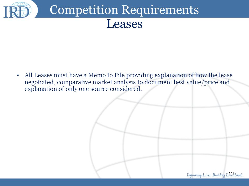Competition Requirements Leases