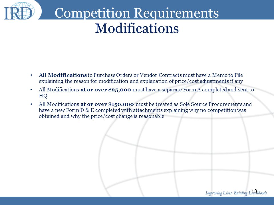 Competition Requirements Modifications