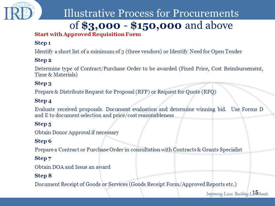 Illustrative Process for Procurements of $3,000 - $150,000 and above