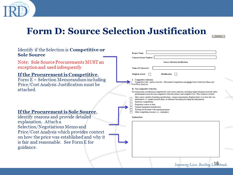 Form D: Source Selection Justification