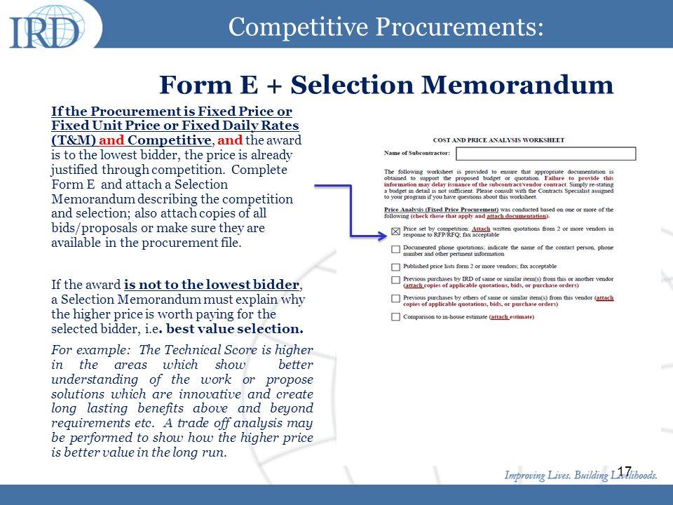 Competitive Procurements: Form E + Selection Memorandum
