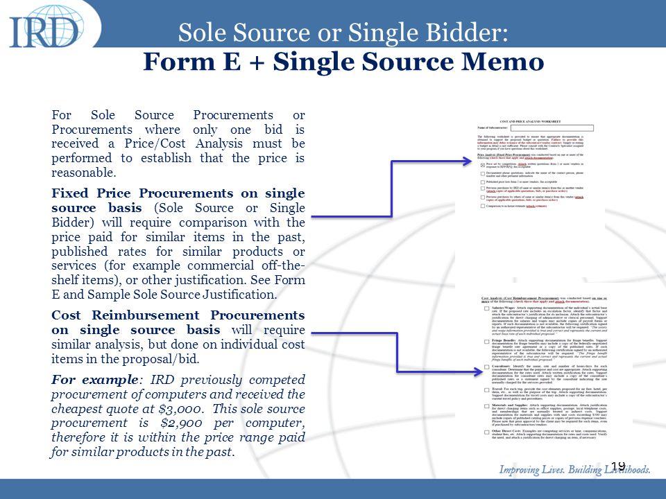 Sole Source or Single Bidder: Form E + Single Source Memo