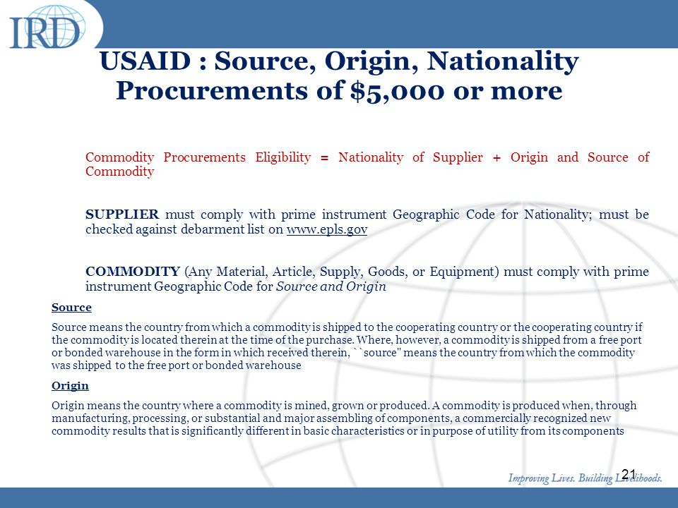 USAID : Source, Origin, Nationality Procurements of $5,000 or more