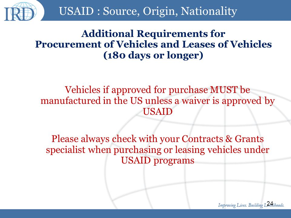 USAID : Source, Origin, Nationality Additional Requirements for Procurement of Vehicles and Leases of Vehicles (180 days or longer)