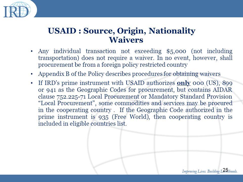 USAID : Source, Origin, Nationality Waivers