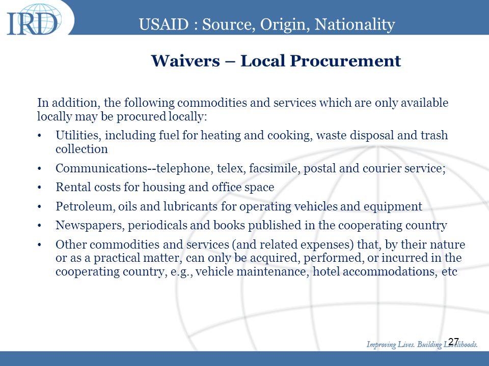 USAID : Source, Origin, Nationality Waivers – Local Procurement