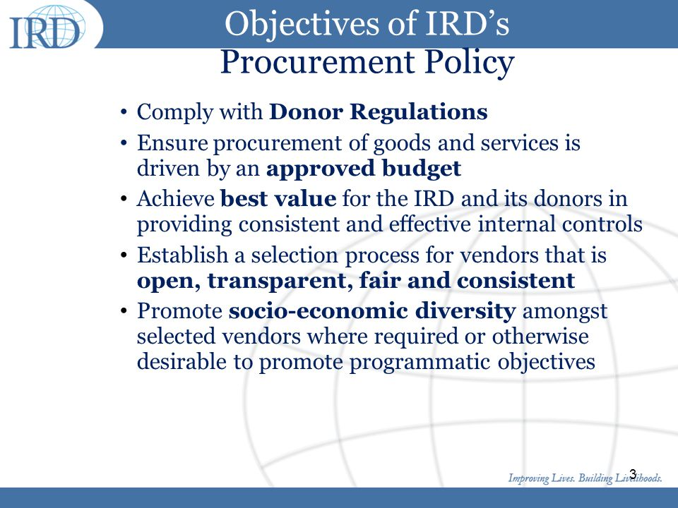 Objectives of IRD's Procurement Policy