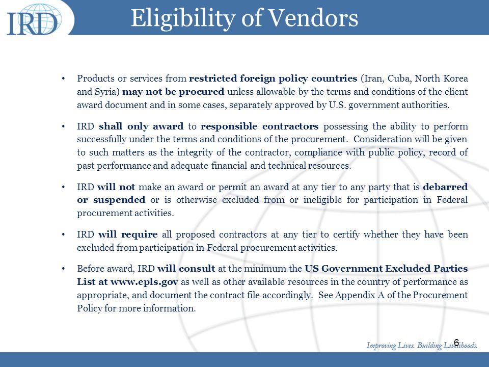 Eligibility of Vendors