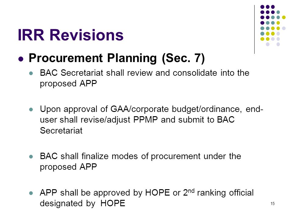 IRR Revisions Procurement Planning (Sec. 7)