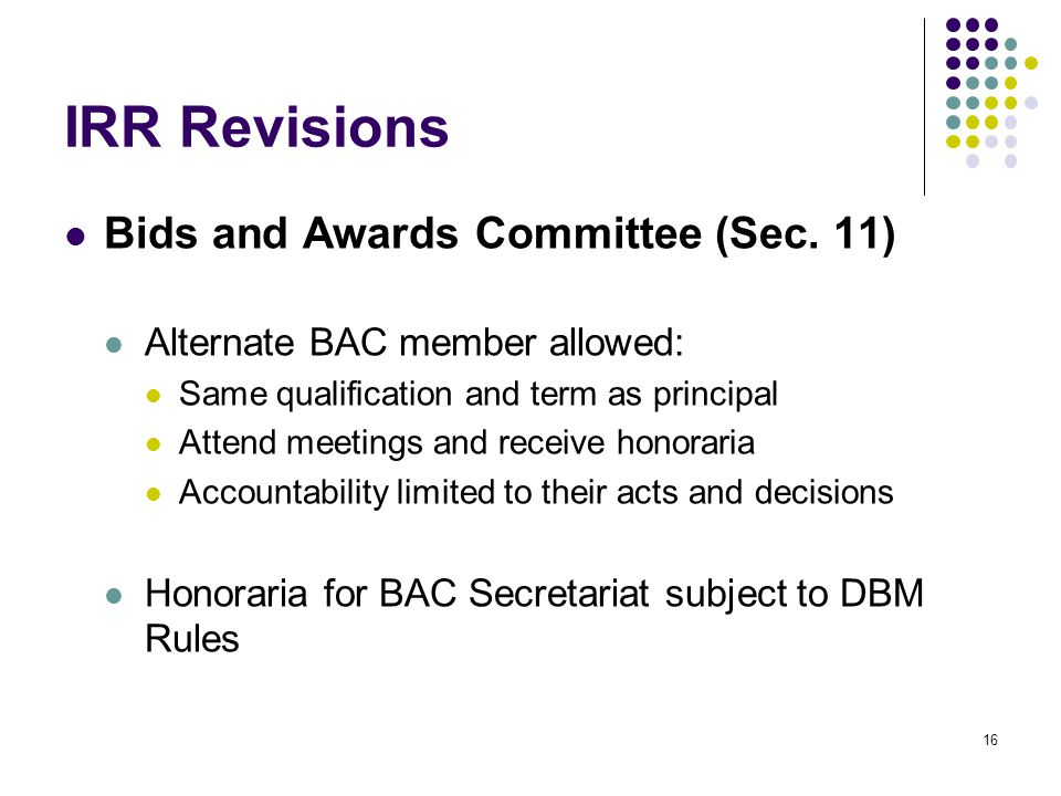 IRR Revisions Bids and Awards Committee (Sec. 11)