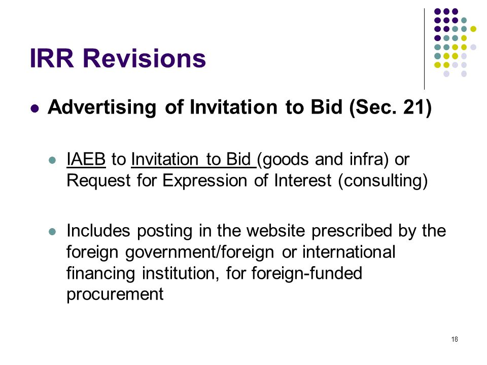 IRR Revisions Advertising of Invitation to Bid (Sec. 21)