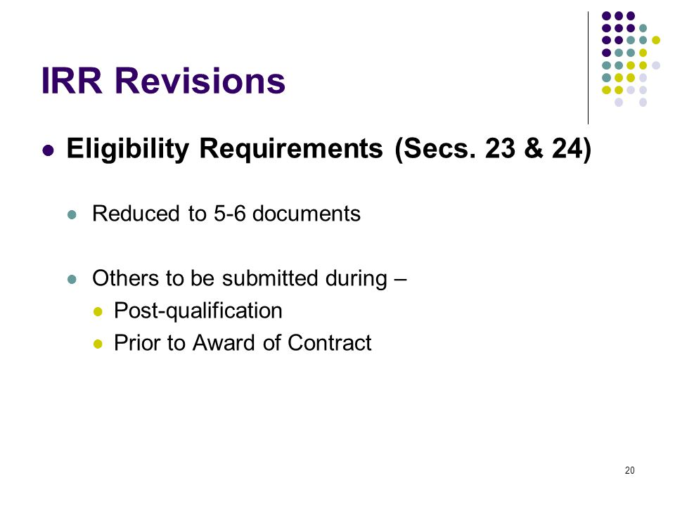 IRR Revisions Eligibility Requirements (Secs. 23 & 24)