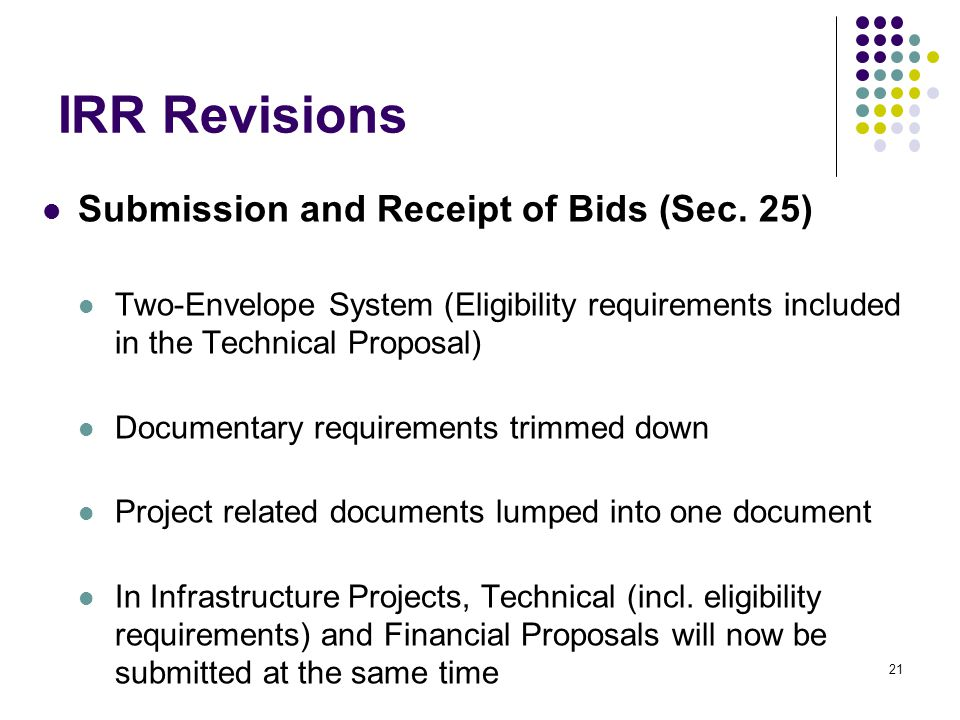 IRR Revisions Submission and Receipt of Bids (Sec. 25)