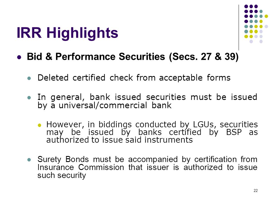 IRR Highlights Bid & Performance Securities (Secs. 27 & 39)