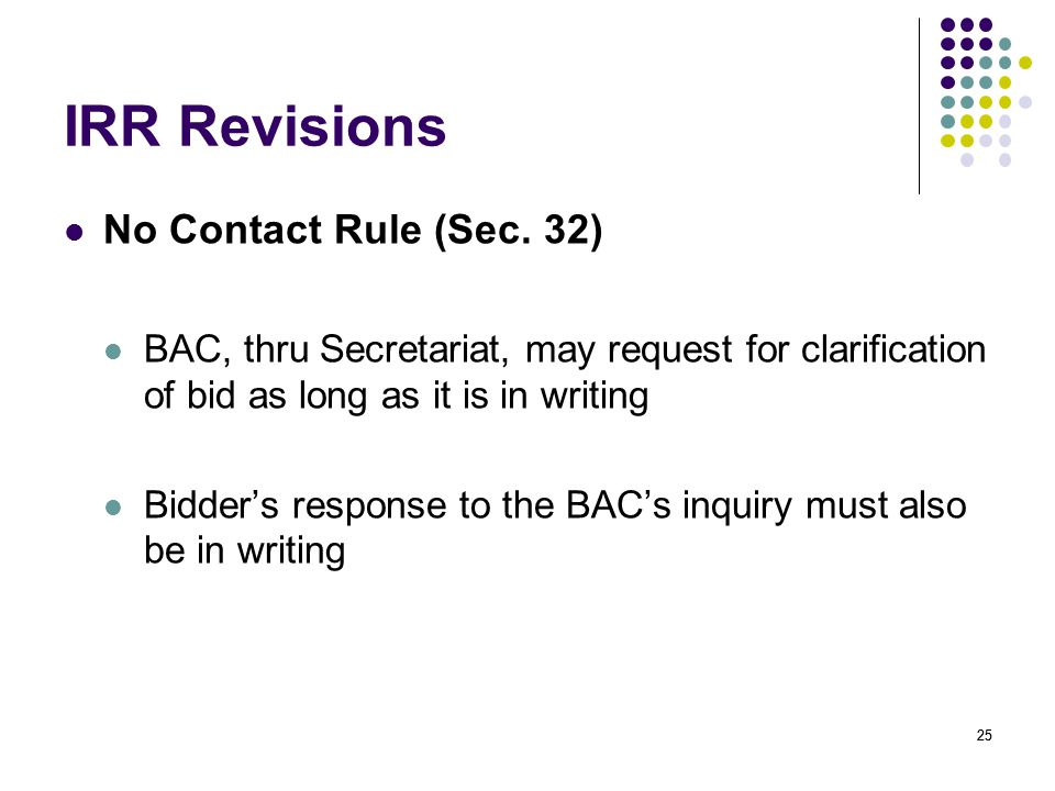 IRR Revisions No Contact Rule (Sec. 32)