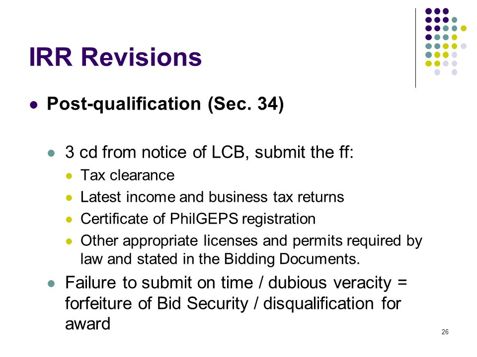 IRR Revisions Post-qualification (Sec. 34)