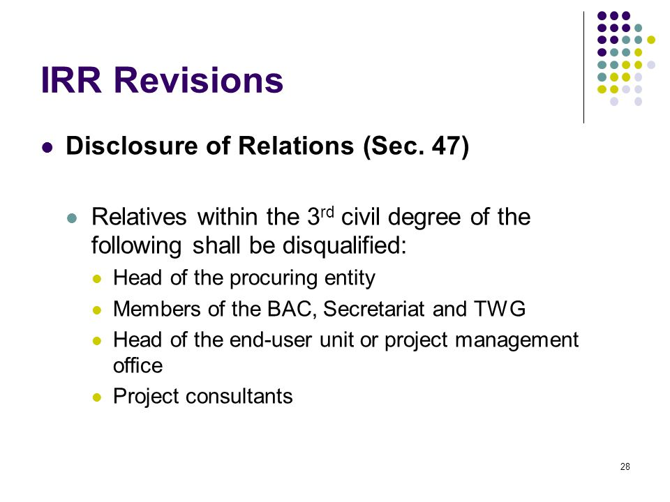 IRR Revisions Disclosure of Relations (Sec. 47)