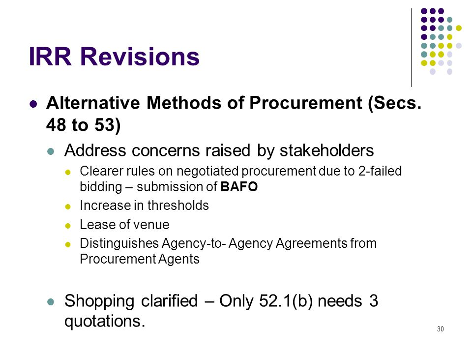 IRR Revisions Alternative Methods of Procurement (Secs. 48 to 53)