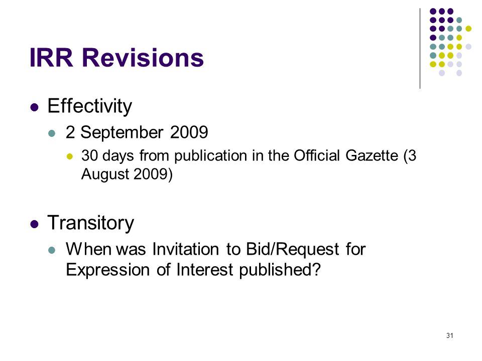 IRR Revisions Effectivity Transitory 2 September 2009