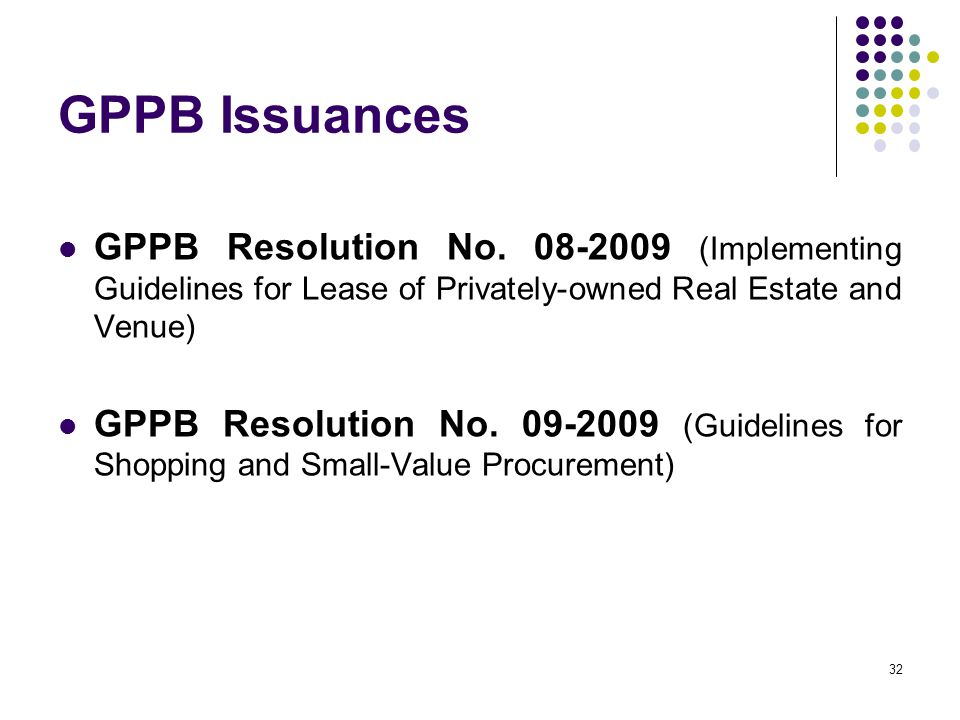 GPPB Issuances GPPB Resolution No (Implementing Guidelines for Lease of Privately-owned Real Estate and Venue)
