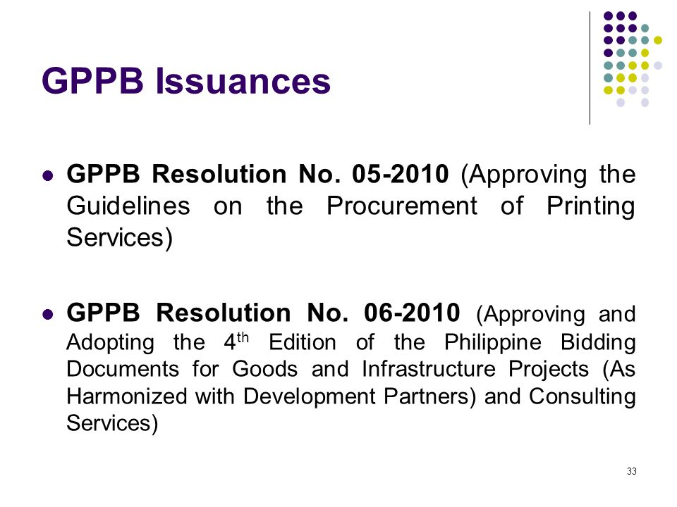 GPPB Issuances GPPB Resolution No. 05-2010 (Approving the Guidelines on the Procurement of Printing Services)