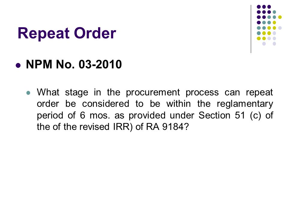 Repeat Order NPM No. 03-2010.