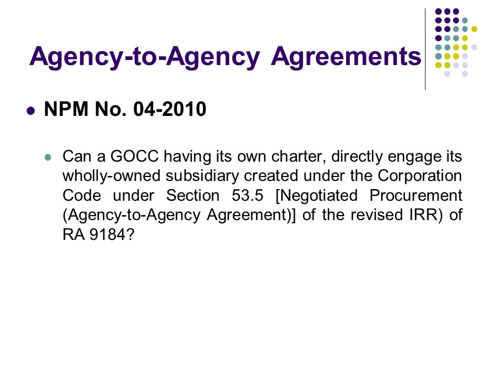 Agency-to-Agency Agreements