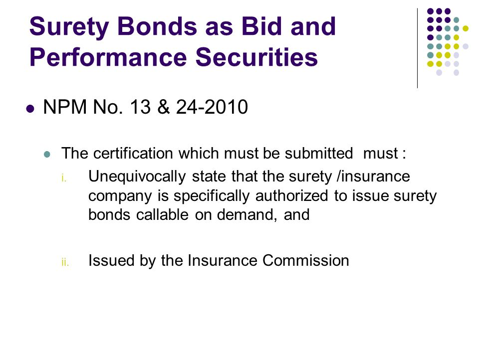 Surety Bonds as Bid and Performance Securities