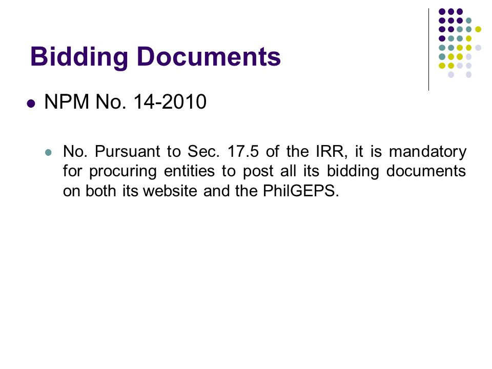Bidding Documents NPM No. 14-2010