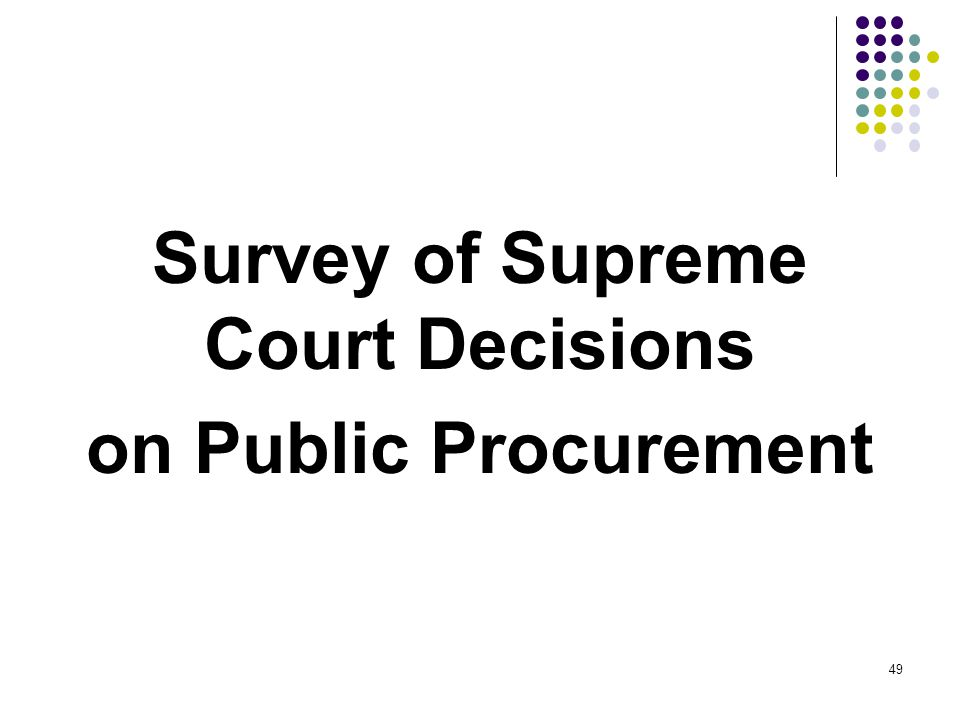 Survey of Supreme Court Decisions on Public Procurement