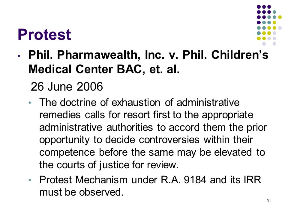 Protest Phil. Pharmawealth, Inc. v. Phil. Children's Medical Center BAC, et. al. 26 June 2006.