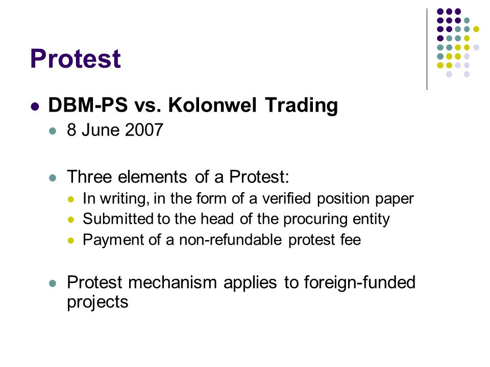Protest DBM-PS vs. Kolonwel Trading 8 June 2007