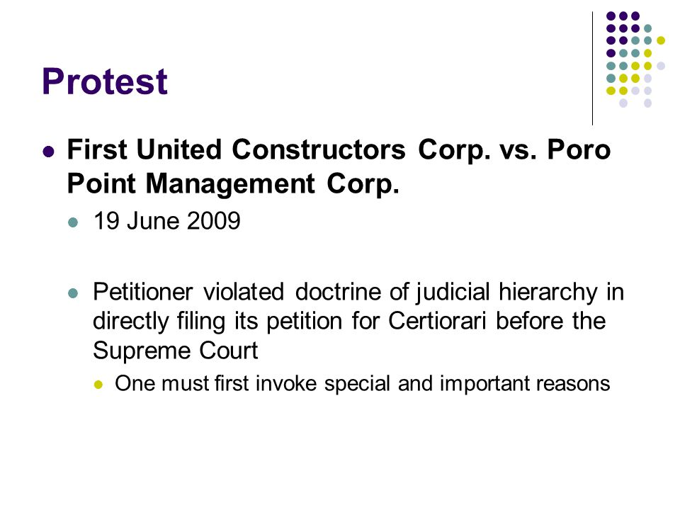Protest First United Constructors Corp. vs. Poro Point Management Corp. 19 June 2009.