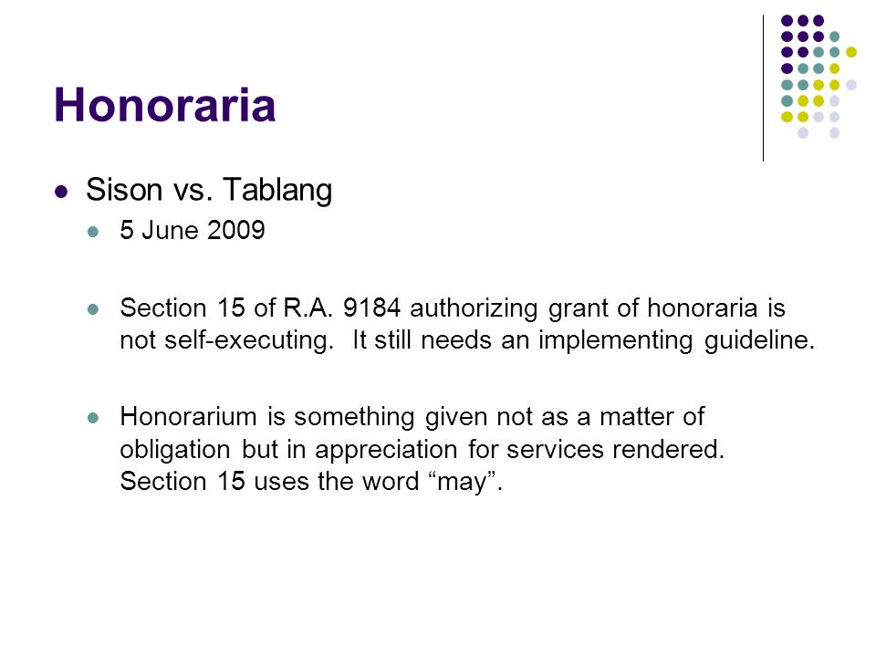 Honoraria Sison vs. Tablang 5 June 2009