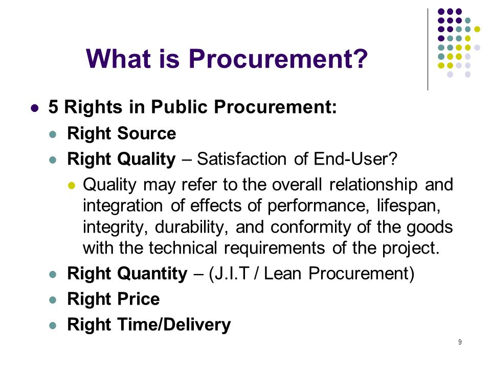 What is Procurement 5 Rights in Public Procurement: Right Source