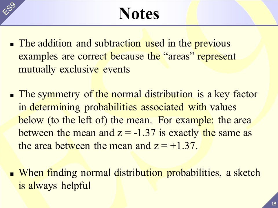 Notes The addition and subtraction used in the previous examples are correct because the areas represent mutually exclusive events.