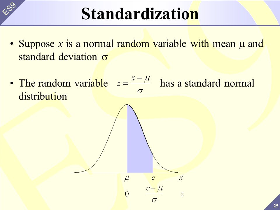 Standardization Suppose x is a normal random variable with mean m and standard deviation s.