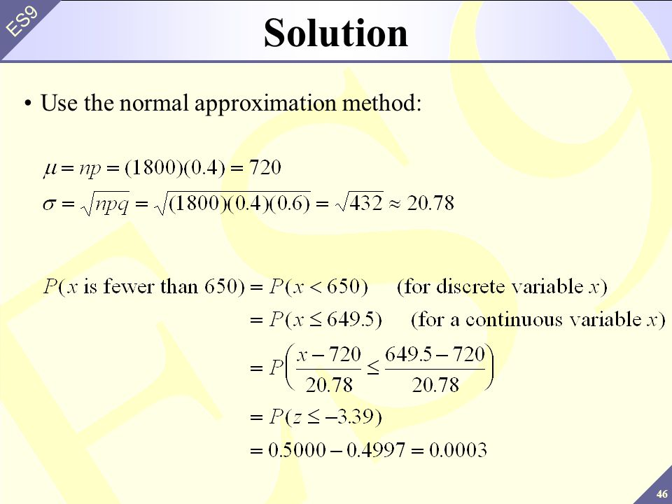 Solution Use the normal approximation method: